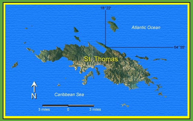 Map of St. Thomas, U.S. Virgin Islands.